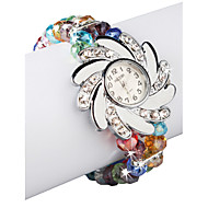 Charming Multicolor Lampwork Glass Flower Design Women' Watch
