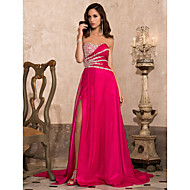 Formal Evening/Military Ball Dress - Fuchsia Plus Sizes A-line/Princess Strapless/Sweetheart Sweep/Brush Train Chiffon