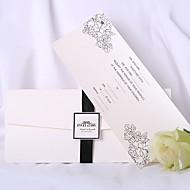 Personalized White Wedding Invitation With Black Ribbon (Set of 50)