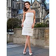 Lanting Bride® Sheath / Column Petite / Plus Sizes Wedding Dress - Chic & Modern / Reception Little White Dresses Knee-length Strapless