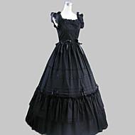 Badedrakt/Kjoler Gotisk Lolita Vintage Inspireret Cosplay Lolita-kjoler Sort Vintage Ærmeløs Lang Lengde Kjole Til Dame Bomuld