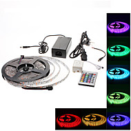 Waterproof 5M 300x5050 SMD RGB LED Strip Light with 24-Button Remote Controller and AC Adapter Set (100-240V)