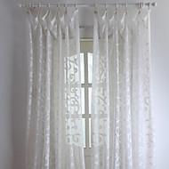 (Two Panels) Floral Elegant Embossed Sheer Curtain