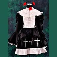 Inspirerad av Cosplay Cosplay anime Cosplay dräkter cosplay Suits / Klänningar Lappverk Svart Lång ärm Klänning / Headband