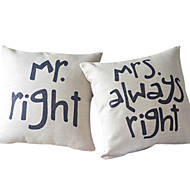 Cotton/Linen Pillow Cover , Text Country
