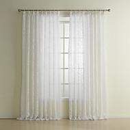 One Panel White Floral Botanical Leaf Polyester Curtain Drape