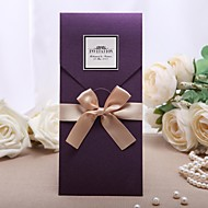 Personalized Wedding Invitation Purple With Golden Bow (Set of 20)
