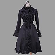 Long Sleeve Knee-length Black Cotton Gothic Lolita Dress