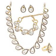 Conjunto de jóias Strass/Imitação de Pérola Dourado Mulheres