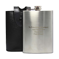Gift Groomsman Personalized Stainless Steel 8-oz Flask with Leather Holder