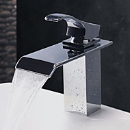Contemporary Water Fall Stainless Steel Chrome Finish Bathroom Sink Faucet