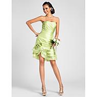 Lanting Knee-length Taffeta Bridesmaid Dress - Lime Green Plus Sizes / Petite Sheath/Column Strapless