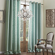 Modern Two Panels Solid Blue Living Room Faux Linen Curtains Drapes