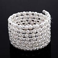 eleganta damer rhinestone Strand / tennis armband vit pärla