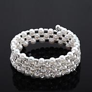 chic dam rhinestone Strand / tennis armband vit pärla