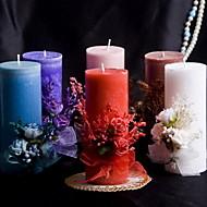 fargerik stearinlys med bowknot korall bryllup