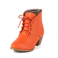 Women's Spring Fall Winter Fashion Boots Leatherette Casual Chunky Heel Lace-up Black Brown Orange Beige