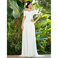 Lan Ting Sheath/Column Plus Sizes Wedding Dress - Ivory Sweep/Brush Train Off-the-shoulder Chiffon