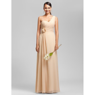 Floor-length Chiffon Bridesmaid Dress - Champagne Apple / Hourglass / Inverted Triangle / Pear / Rectangle / Plus Sizes / Petite / Misses