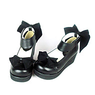 Black PU Leather 4.5cm Wedge Velvet Bow Classic Lolita Shoes