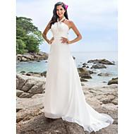 A-line/Princess Plus Sizes Wedding Dress - Ivory Chapel Train Halter Chiffon