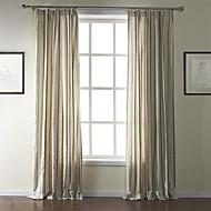 (Two Panels) Mediterranean Linen Print Stripe Eco-friendly Curtain