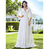 Lanting Sheath/Column Petite / Plus Sizes Wedding Dress - Ivory Floor-length V-neck Chiffon