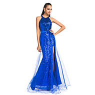 Prom / Formal Evening / Military Ball Dress - Plus Size / Petite Sheath/Column Jewel Floor-length Tulle / Sequined