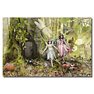 Printed Canvas Art People Frolicking Fairies by Liz Zernich with Stretched Frame