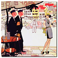 Painettu Canvas Art Vintage Paris 1925 Solders Ranskan Lady Vintage Apple Collection venytetty Frame
