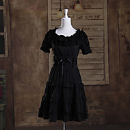 Short Sleeve Short Black Cotton Gothic Lolita Punk Lolita Dress with Lace and Ribbon