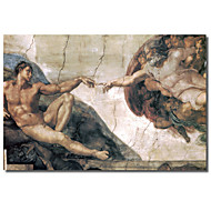 Printed Canvas Art Vintage Michelangelo, Creation of man by Vintage Apple Collection with Stretched Frame
