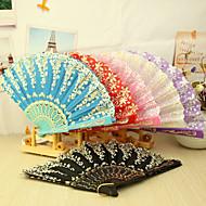 Asain Thema Plastic Hand Fan - Set van 4 (gemengde kleuren, Mixed Floral Pattern)