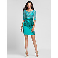 TS Couture Cocktail Party / Wedding Party Dress - Jade Plus Sizes / Petite Sheath/Column Scoop Short/Mini Lace / Stretch Satin