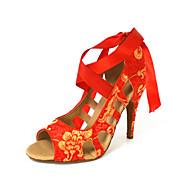 Femininos personalizados seda superior Sapatos de dança com Lace-up