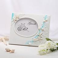 Resina,Piedras) -Tema Playa Blanco 25cm*20cm*2.6cm Libro de Invitados 100