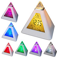 7 οδήγησε χρώματα αλλάζουν σχήμα πυραμίδας ψηφιακό ξυπνητήρι ρολόι ημερολόγιο θερμόμετρο (λευκό, 3xaaa)