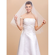 잘라 가장자리 한 계층 팔꿈치 결혼식 베일