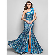 Formal Evening/Military Ball Dress Plus Sizes Trumpet/Mermaid One Shoulder Floor-length Sequined