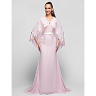 TS Couture® Formal Evening / Prom / Military Ball Dress - Candy Pink Plus Sizes / Petite A-line / Princess V-neck Sweep/Brush Train Chiffon