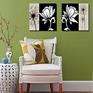 sträckt duk konst svartvit blom maskros set om 2