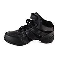 Non Customizable Women's Dance Shoes Dance Sneakers Leather Flat Heel Black