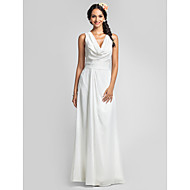 Lanting Floor-length Chiffon Bridesmaid Dress - Ivory Plus Sizes / Petite Sheath/Column Cowl