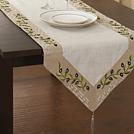 Beige / White Linen Rectangular Table Runners