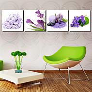 Op gespannen doek Art Floral Blue Orchid Set van 4