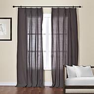 Dva panely Window Léčba Moderní , Jednolitý Obývací pokoj Směs lnu a bavlny Materiál Sheer Záclony Shades Home dekorace For Okno