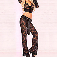 Cropped Black Lace Jacket with Hood and Lounge Pant