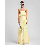 Lanting Bride® Floor-length Chiffon Bridesmaid Dress Sheath / Column Strapless Plus Size / Petite with Ruffles / Cascading Ruffles