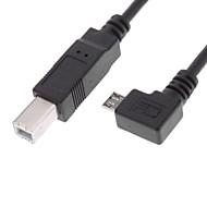 USB 2.0 B Type Male naar Micro USB 2.0 90 graden naar rechts Male OTG Kabel (0.3M)