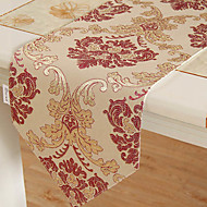 European Style Rouge et Or Chemin de Table Floral